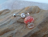 Glow In the Dark Red Glass Mushroom Belly Ring Body Jewelry 14ga - BodyDazzle - 2