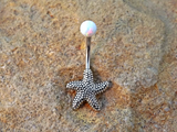 Fire Opal Starfish Belly Ring Non Dangle 14ga Surgical Stainless Steel White Opal - BodyDazzle - 2