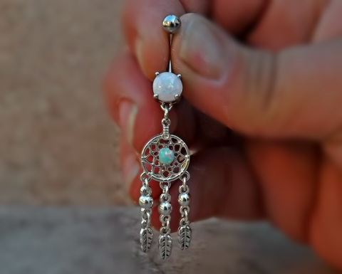 Dream Catcher Fire Opal Belly Ring  and Feather 14ga Surgical Stainless Steel Active Photos - BodyDazzle