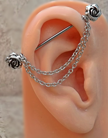 Rose Industrial Barbell Rose Center 14ga Body Jewelry Ear Jewelry Double Piercing With Chains - BodyDazzle