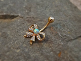Fire Opal Gold Bow Belly Ring Cute Fits in Navel Body Jewelry Navel Piercing 14ga Fits in Navel - BodyDazzle - 3
