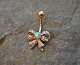 Fire Opal Gold Bow Belly Ring Cute Fits in Navel Body Jewelry Navel Piercing 14ga Fits in Navel - BodyDazzle - 2