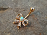 Fire Opal Gold Bow Belly Ring Cute Fits in Navel Body Jewelry Navel Piercing 14ga Fits in Navel - BodyDazzle - 1