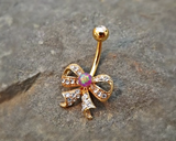 Gold Fire Opal Bow Purple Belly Ring Cute Fits in Navel Body Jewelry Navel Piercing 14ga Fits in Navel - BodyDazzle - 2