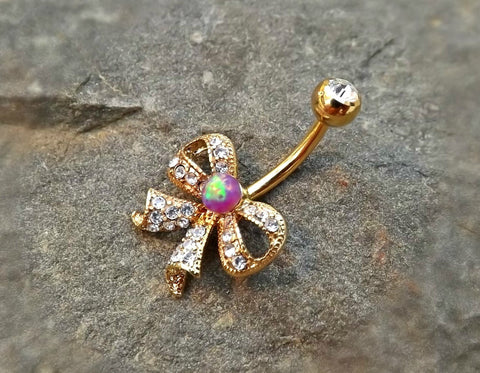 Gold Fire Opal Bow Purple Belly Ring Cute Fits in Navel Body Jewelry Navel Piercing 14ga Fits in Navel - BodyDazzle - 1