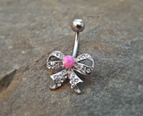 Bow Fire Opal Pink  Belly Ring Cute Fits in Navel Body Jewelry Navel Piercing 14ga Fits in Navel - BodyDazzle - 2