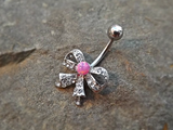 Bow Fire Opal Pink  Belly Ring Cute Fits in Navel Body Jewelry Navel Piercing 14ga Fits in Navel - BodyDazzle - 1