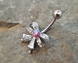Bow Fire Opal Purple Belly Ring Cute Fits in Navel Body Jewelry Navel Piercing 14ga Fits in Navel - BodyDazzle - 1