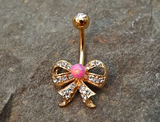 Gold Fire Opal Pink Bow Belly Ring Cute Fits in Navel Body Jewelry Navel Piercing 14ga Fits in Navel - BodyDazzle - 2