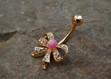 Gold Fire Opal Pink Bow Belly Ring Cute Fits in Navel Body Jewelry Navel Piercing 14ga Fits in Navel - BodyDazzle - 3