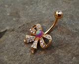 Gold Fire Opal Bow Purple Belly Ring Cute Fits in Navel Body Jewelry Navel Piercing 14ga Fits in Navel - BodyDazzle - 3
