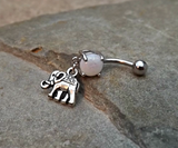 Elephant White  Fire Opal Belly Ring Navel Ring Body Jewelry 14ga Surgical Steel - BodyDazzle - 3