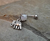 Elephant White  Fire Opal Belly Ring Navel Ring Body Jewelry 14ga Surgical Steel - BodyDazzle - 1