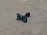 Bow Cartilage Earring 16ga Rhinestone Black Barbell Tragus Helix Fire Opal Cartilage Earring Blue with Rhinestones 16ga Tragus Helix 316L Surgical Stainless Steel - BodyDazzle - 3