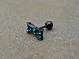 Bow Cartilage Earring 16ga Rhinestone Black Barbell Tragus Helix Fire Opal Cartilage Earring Blue with Rhinestones 16ga Tragus Helix 316L Surgical Stainless Steel - BodyDazzle - 2