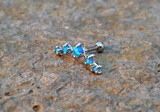 Blue Fire Opals Stud Cartilage Earring 5 Fire Opals Piercing16g  Upper Ear Jewelry - BodyDazzle - 2