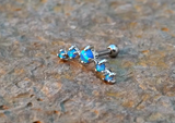 Blue Fire Opals Stud Cartilage Earring 5 Fire Opals Piercing16g  Upper Ear Jewelry - BodyDazzle - 3
