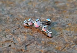 White Fire Opals Stud Cartilage Earring 5 Fire Opals Piercing16g  Upper Ear Jewelry - BodyDazzle - 1