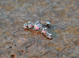 White Fire Opals Stud Cartilage Earring 5 Fire Opals Piercing16g  Upper Ear Jewelry - BodyDazzle - 3