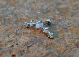 Light Blue Fire Opals Stud Cartilage Earring 5 Fire Opals Piercing16g  Upper Ear Jewelry - BodyDazzle - 1