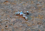 Light Blue Fire Opals Stud Cartilage Earring 5 Fire Opals Piercing16g  Upper Ear Jewelry - BodyDazzle - 3
