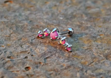 Pink Fire Opals Stud Cartilage Earring 5 Fire Opals Piercing16g  Upper Ear Jewelry - BodyDazzle - 1