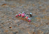Pink Fire Opals Stud Cartilage Earring 5 Fire Opals Piercing16g  Upper Ear Jewelry - BodyDazzle - 2
