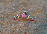 Pink Fire Opals Stud Cartilage Earring 5 Fire Opals Piercing16g  Upper Ear Jewelry - BodyDazzle - 3