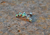Light Green Fire Opals Stud Cartilage Earring 5 Fire Opals Piercing16g  Upper Ear Jewelry - BodyDazzle - 1