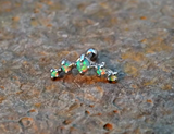 Light Green Fire Opals Stud Cartilage Earring 5 Fire Opals Piercing16g  Upper Ear Jewelry - BodyDazzle - 2