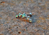Light Green Fire Opals Stud Cartilage Earring 5 Fire Opals Piercing16g  Upper Ear Jewelry - BodyDazzle - 3