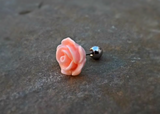 Rose Cartilage Helix Earring Upper Ear Jewelry Tragus 16ga Flower Body Jewelry 316L Surgical Stainless Steel - BodyDazzle - 2