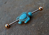 Turquoise Turtle Gold Industrial Barbell 14ga Body Jewelry Ear Jewelry Double Piercing 316L Surgical Stainless Steel - BodyDazzle - 1