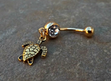Turtle Gold Belly Ring Navel Ring Body Jewelry 14ga Surgical Steel Piercing Jewelry - BodyDazzle - 3
