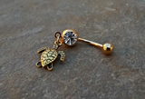 Turtle Gold Belly Ring Navel Ring Body Jewelry 14ga Surgical Steel Piercing Jewelry - BodyDazzle - 2