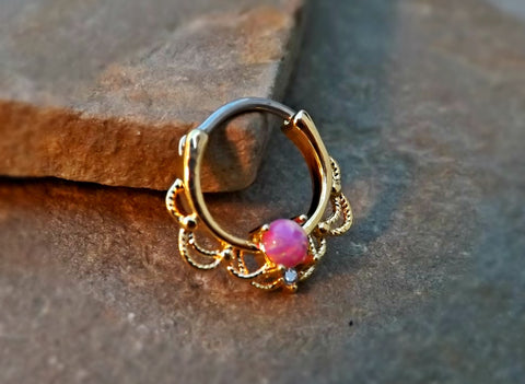 Gold Septum Clicker Pink Fire Opal Nose Jewelry 16ga Daith Ring Clicker Bull Ring Nose Piercing - BodyDazzle - 1