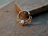 Gold Septum Clicker White Fire Opal Nose Jewelry 16ga Daith Ring Clicker Bull Ring Nose Piercing - BodyDazzle - 2