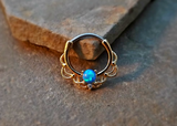 Gold Septum Clicker Blue Fire Opal Nose Jewelry 16ga Daith Ring Clicker Bull Ring Nose Piercing - BodyDazzle - 2