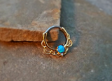 Gold Septum Clicker Blue Fire Opal Nose Jewelry 16ga Daith Ring Clicker Bull Ring Nose Piercing - BodyDazzle - 1