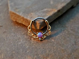 Gold Septum Clicker Purple Fire Opal Nose Jewelry 16ga Daith Ring Clicker Bull Ring Nose Piercing - BodyDazzle - 2