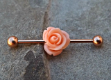 Rose Gold Industrial Black Peach Barbell 14ga Body Jewelry Ear Jewelry Double Piercing Upper Ear - BodyDazzle - 2