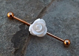 White Rose Gold Industrial Piercing Barbell 14ga Body Jewelry Ear Jewelry 316L Surgical Stainless Steel - BodyDazzle - 1