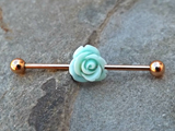 Rose Gold Industrial Blue Rose Barbell 14ga Body Jewelry Ear Jewelry Double Piercing Upper Ear - BodyDazzle - 2
