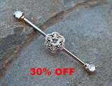 Fire Opal Industrial Piercing Barbell with Silver Flower 14ga Body Jewelry Ear Jewelry Double Piercing Upper Ear Jewelry - BodyDazzle - 1