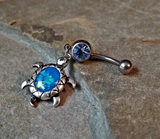Turtle Fire Opal Blue Belly Ring Navel Ring Body Jewelry 14ga Surgical Steel Belly Button Jewelry - BodyDazzle - 1