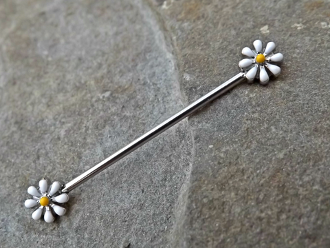 Daisy Industrial Barbell 14ga Body Jewelry Scaffold Ear Jewelry Double Piercing Upper Ear Jewelry - BodyDazzle - 1
