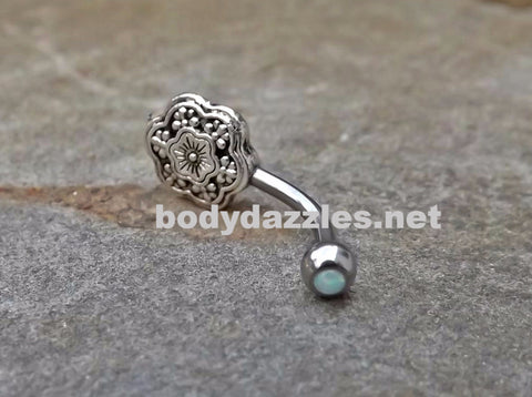 Flower Fire Opal White Belly Button Navel Ring Body Jewelry Fits in Navel 14ga Cute Belly Ring - BodyDazzle - 1
