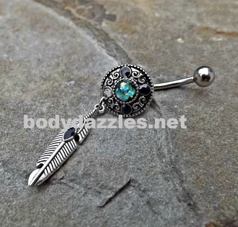 Tribal Opal Green Belly Button Navel Ring Body Jewelry Fits in Navel 14ga Cute Belly Surgical Steel - BodyDazzle - 1