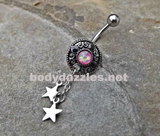 Tribal Opal Pink Belly Button Stars Navel Ring Body Jewelry Fits in Navel 14ga Cute Belly Ring - BodyDazzle - 1