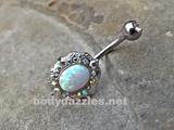 Sparkly Fire Opal White Belly Button Silver Navel Ring Body Jewelry Fits in Navel 14ga Cute Belly Ring - BodyDazzle - 1